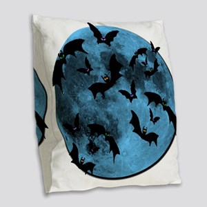 Bats Flying in Blue Moon Burlap Throw Pillow