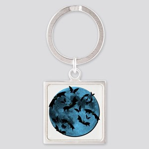 Bats Flying in Blue Moon Square Keychain