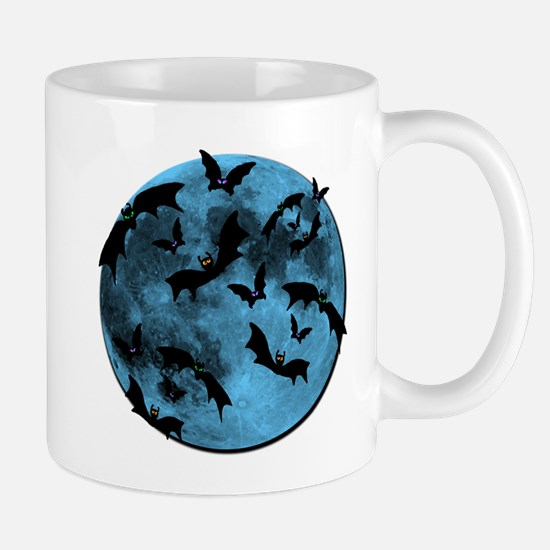Bats Flying in Blue Moon Mugs