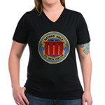 USS NATHAN HALE Women's V-Neck Dark T-Shirt