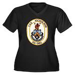 USS NICHOLSO Women's Plus Size V-Neck Dark T-Shirt