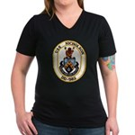 USS NICHOLSON Women's V-Neck Dark T-Shirt