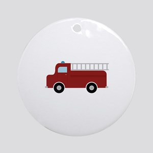 Firefighter Truck Ornament (Round)