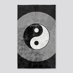 Distressed Yin Yang Symbol 3'x5' Area Rug