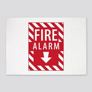 Fire Alarm Sign 5'x7'Area Rug