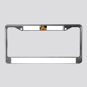 Nala inside during holiday License Plate Frame