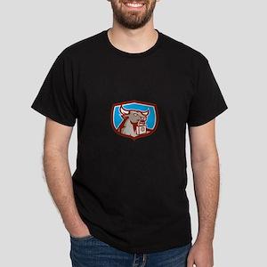 Angry Bull Head Padlock Shield Retro T-Shirt