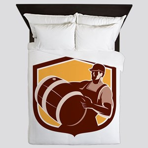 Man Carrying Barrel Shield Retro Queen Duvet