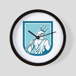 Neptune Poseidon Trident Shield Retro Wall Clock