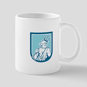 Neptune Poseidon Trident Shield Retro Mugs