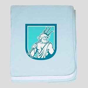 Neptune Poseidon Trident Shield Retro baby blanket