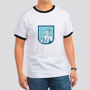 Neptune Poseidon Trident Shield Retro T-Shirt