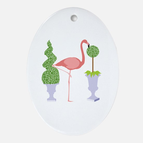 Cute Flamingo yard Oval Ornament