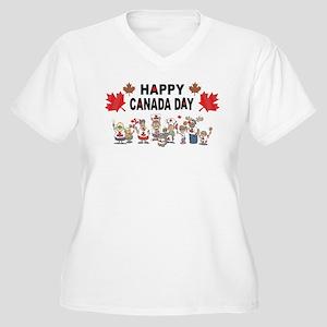 Happy Canada Day Women's Plus Size V-Neck T-Shirt