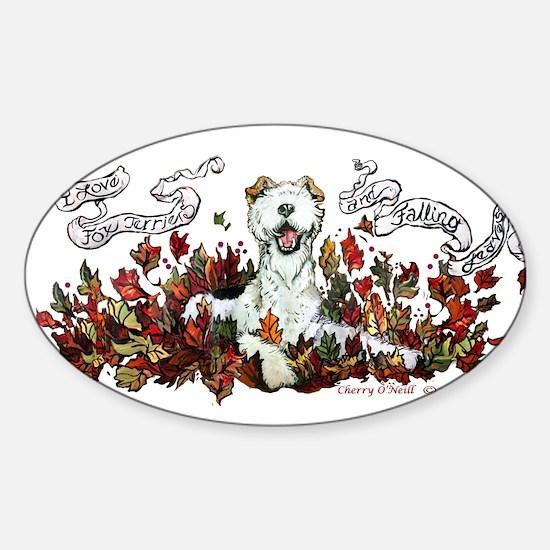 Autumn Fox Terrier Sticker (Oval)