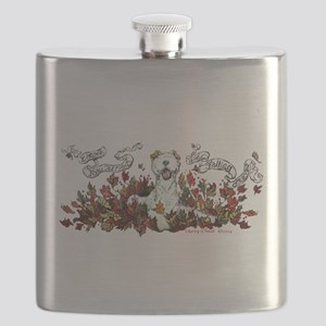 Autumn Fox Terrier Flask