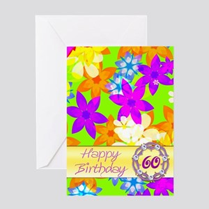 60th fabulous flowers birthday card Greeting Cards