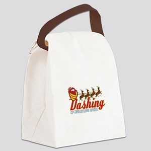 Dashing Of Christmas Spirit Canvas Lunch Bag