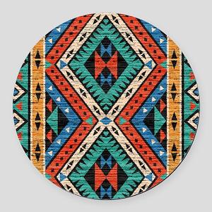 Vintage Tribal Pattern Round Car Magnet