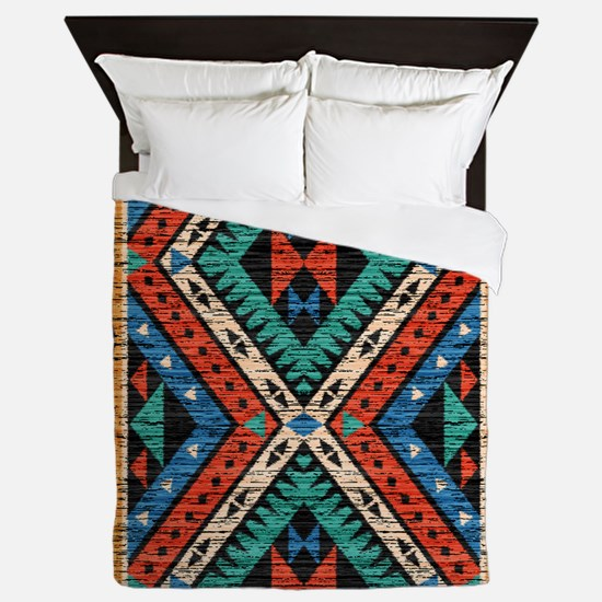 Vintage Tribal Pattern Queen Duvet