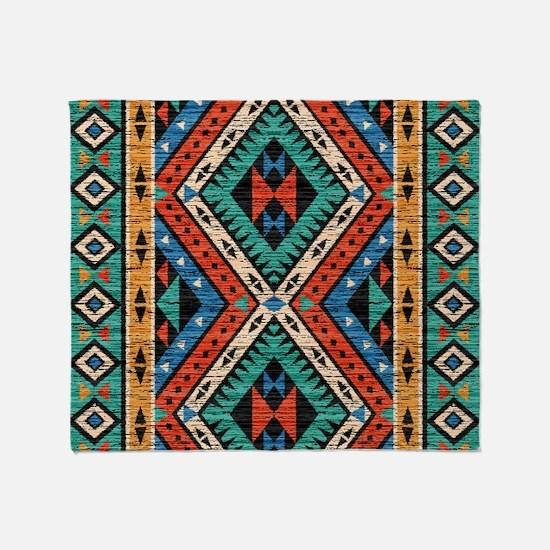 Vintage Tribal Pattern Throw Blanket