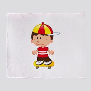 Skateboard Boy Baseball Cap Throw Blanket