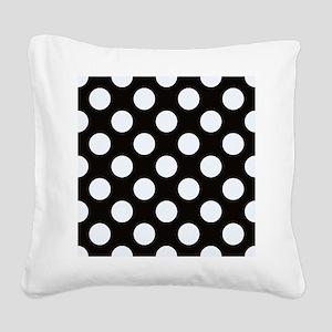 Black and white polkadots Square Canvas Pillow