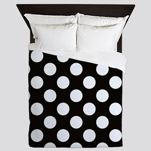 Black and white polkadots Queen Duvet