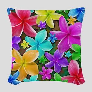 Plumerias Flowers Dream Woven Throw Pillow