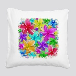 Plumerias Flowers Dream Square Canvas Pillow
