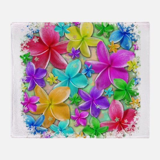 Plumerias Flowers Dream Throw Blanket
