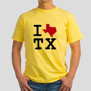 I heart Texas TX Yellow T-Shirt