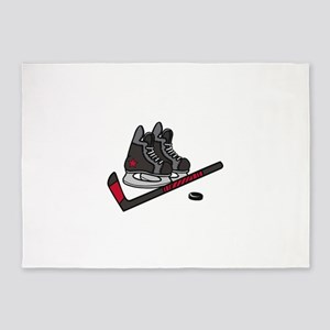 Hockey Skates 5'x7'Area Rug