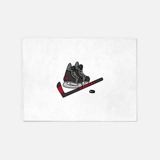 Hockey Skates 5'x7'Area Rug