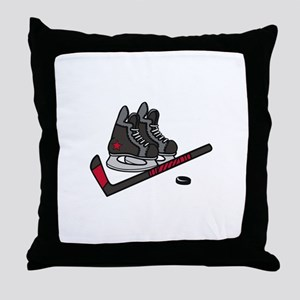 Hockey Skates Throw Pillow