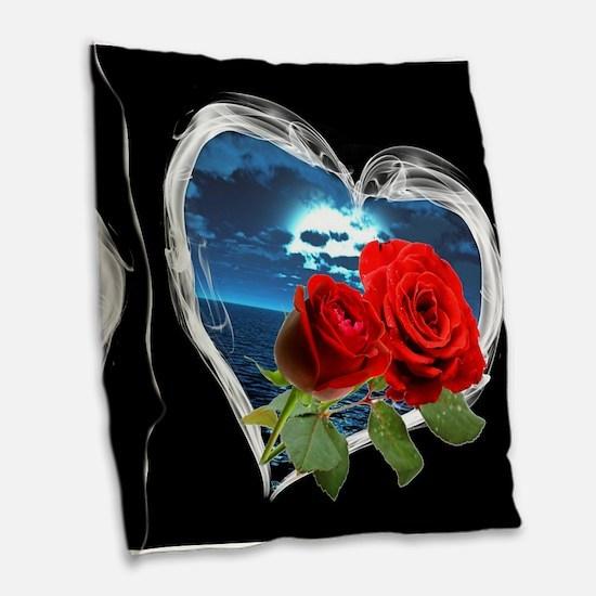 Red Roses Smokey Heart Burlap Throw Pillow