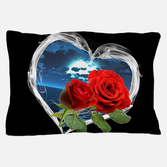 Red Roses Smokey Heart Pillow Case
