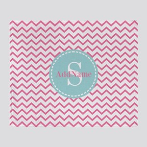 Aqua Monogram Chevron Stripe Throw Blanket