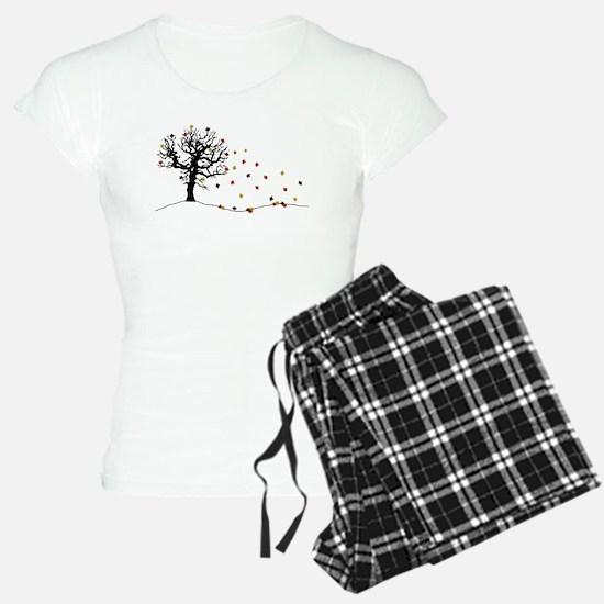 Autumn tree and falling leaves Pajamas