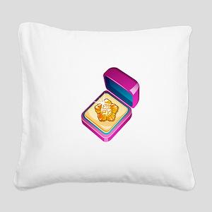 Diamond Ring Jewelry Square Canvas Pillow