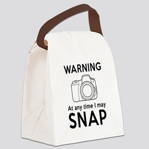 Warning may snap photographer Canvas Lunch Bag