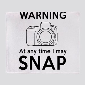 Warning may snap photographer Throw Blanket