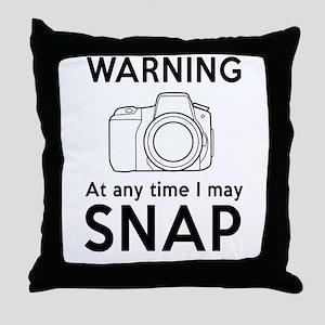 Warning may snap photographer Throw Pillow