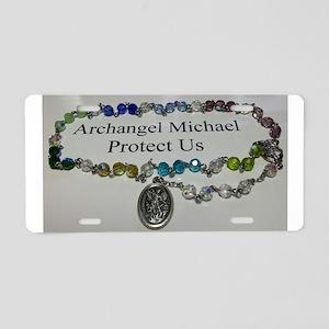 Archangel Michael Protect Us Aluminum License Plat