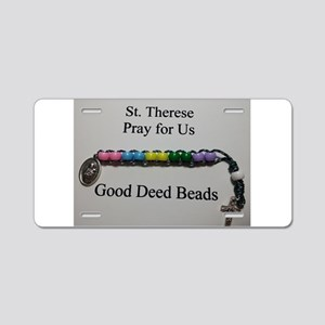 St. Therese Good Deed Beads Aluminum License Plate