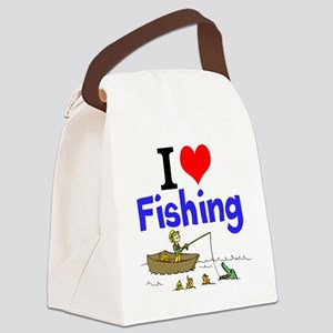 I Love Fishing Canvas Lunch Bag