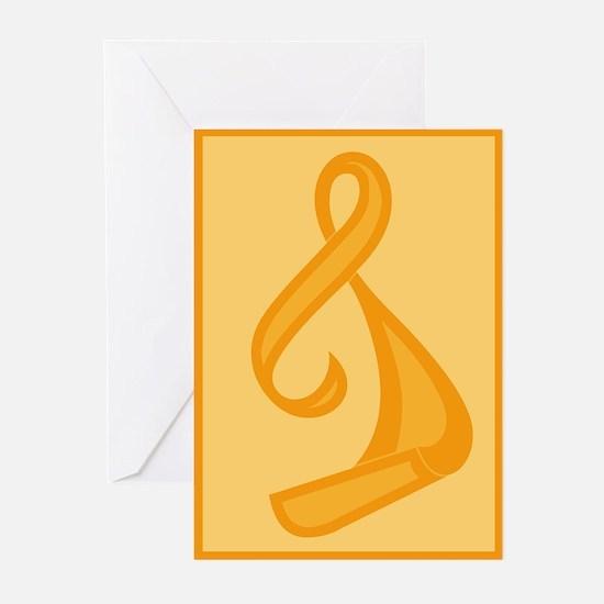 """Orange Ribbon Twist"" Greeting Cards (Pk of 10"