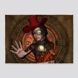 Steampunk women with hat 5'x7'Area Rug