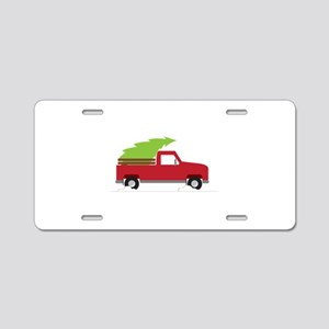 Red Christmas Truck Aluminum License Plate
