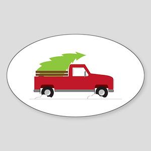 Red Christmas Truck Sticker